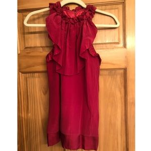 M.M. Couture Ruffled Neck Silk Sleeveless Blouse